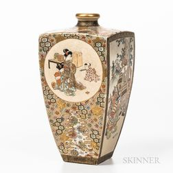 Satsuma Four-sided Vase