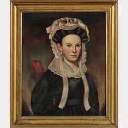Milton W. Hopkins (American, 1789-1844)      Portrait of a Young Woman Wearing a Fancy Pink-Ribboned Lace Bonnet.