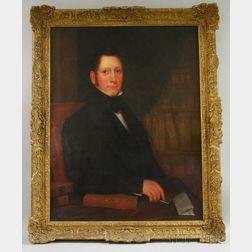 19th Century American School Oil on Canvas Portrait of Thomas Atkinson Esq.