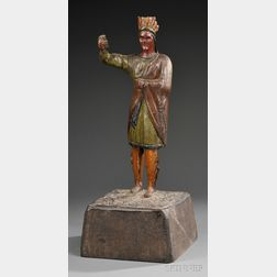 Carved and Polychrome-painted Wooden Countertop Indian Tobacconist Figure