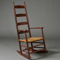 Shaker Maple and Bird's-eye Maple Ladder-back Rocking Chair
