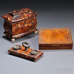 Tortoiseshell Veneer Tea Caddy and Inkstand, and a Burl Veneer Box