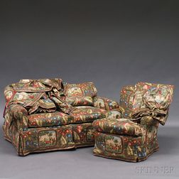 Chintz Upholstered Armchair, Settee, and Three Matching Polished Cotton Curtains