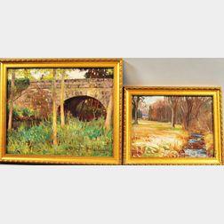 Harold Crocker Dunbar (American, 1882-1953)      Two Landscapes: Old Bridge/Moret-sur-Loing/France