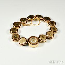 14kt Gold and Garnet Wristwatch, Lucien Piccard
