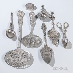 Eight Pieces of Continental Silver Tableware