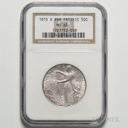 1915-S Panama-Pacific Commemorative Half Dollar, NGC MS65.     Estimate $800-1,200