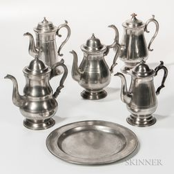 Five Pewter Coffeepots and a Pewter Charger