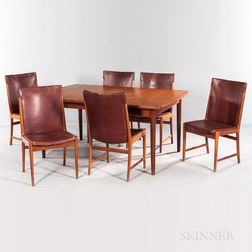 Teak Dining Table and Six Leather Side Chairs