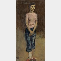 Moses Soyer (American, 1899-1974)      Figure of a Young Woman Standing