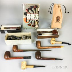 Large Collection of Pipes, Stands, and Ashtrays
