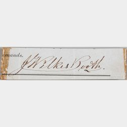 Booth, John Wilkes (1838-1865) Clipped Signature in an Autograph Book, c. 1858.