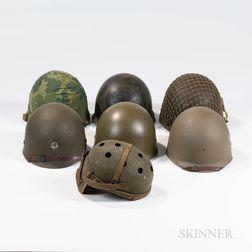Three U.S. Helmets, a U.S. Tanker Helmet, and Three Liners