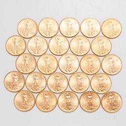 Twenty-six $20 St. Gaudens Double Eagle Gold Coins