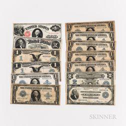 Thirteen Large Size American Banknotes