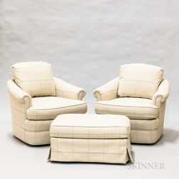 Pair of Brunschwig & Fils Custom Overupholstered Madeline Chairs and an Ottoman