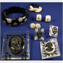 Group of Seven Bakelite and Lucite Jewelry Items