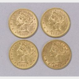 1893, 1894, 1895, and 1897 Liberty Head Half Eagle Five Dollar Gold Coins.