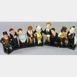 Nine Small Royal Doulton Porcelain Dickens Figures