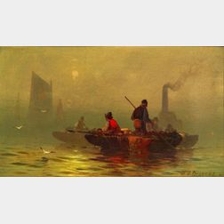 Franklin D. Briscoe (American, 1844-1903)    Fishermen Headed Out to Sea