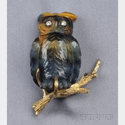 18kt Gold, Quartz, and Diamond Owl Brooch, Erwin Pearl
