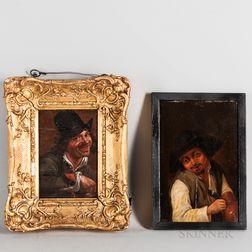 Dutch School, 17th Century      Two Small Heads of Peasant Men Enjoying Drink