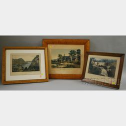 Three Framed Currier and Currier & Ives Hand-colored Lithographs