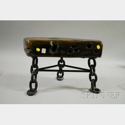 Oak and Wrought Iron Footstool Made From Remains of the Ship Milwaukee Belle