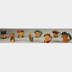Eight Assorted Royal Doulton Ceramic Character Jugs and Figures