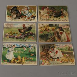 Six Early 20th Century Die-cut Hold-to-Light Holiday Postcards