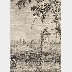 Three Venetian Views:      Giovanni Antonio Canale called Canaletto (Italian, 1697-1768), The Little   Monument