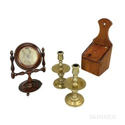 Pair of Brass Candlesticks, a Hanging Wall Box, and a Turned Shaving Mirror.     Estimate $250-350