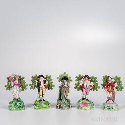 Five Staffordshire Bocage Figures