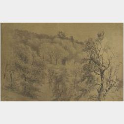 Frederick Rondel (French-American, 1826-1892)  Woodland Sketch.