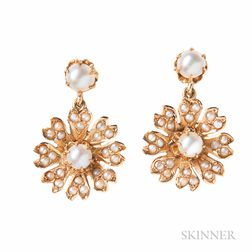 14kt Gold and Pearl Sunburst Earclips