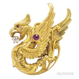 Art Nouveau 14kt Gold and Diamond Griffin Pin, Riker Bros.
