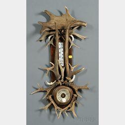 Adirondack Lodge-style Antler-mounted Aneroid Barometer