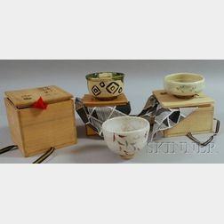 Three Japanese Ceramic Tea Ceremony Bowls