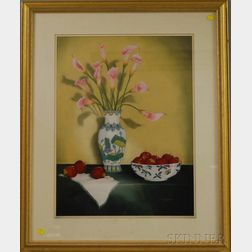 Nancy Brangaccio (American, 20th Century)      Still Life with Pink Calla Lilies, Lady Apples, and Japanese Porcelain.