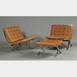 Pair of Mies van der Rohe Barcelona Chairs and Ottoman