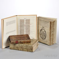 Early Books, Three Volumes, and Manuscript Leaf.