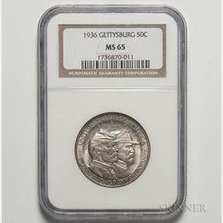 1936 Gettysburg Commemorative Half Dollar, NGC MS65.     Estimate $500-700