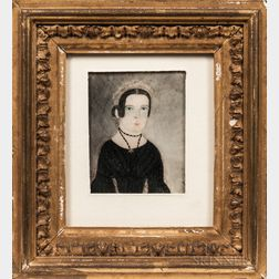 Attributed to Jane A. Davis (Connecticut/Rhode Island, 1821-1855)      Portrait of a Woman Wearing a Black Necklace