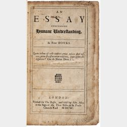 Locke, John (1632-1704) An Essay Concerning Humane Understanding in Four Books.