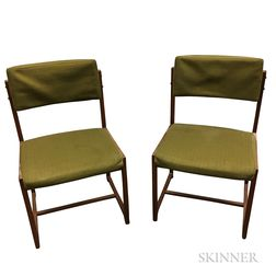 Pair of Danish Teak Upholstered Side Chairs