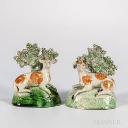 Pair of Staffordshire Bocage Sheep