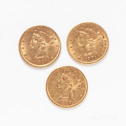 1887-S, 1901-S, and 1901 $5 Liberty Head Gold Coins.     Estimate $600-800