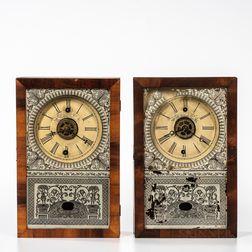 Two New England Clock Co. Cigar Box Clocks