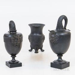 Three Black Basalt Items