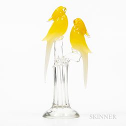 Pino Signoretto (Italian, b. 1944) Italian Art Glass Yellow Parakeets